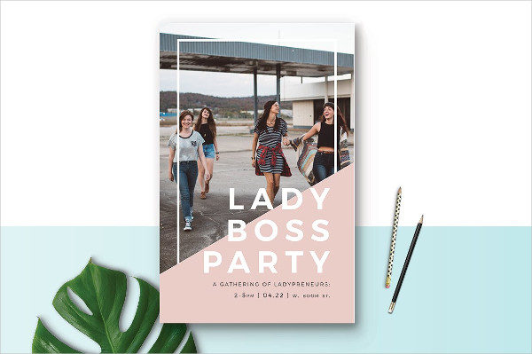 Lady Boss Party Event Poster Template