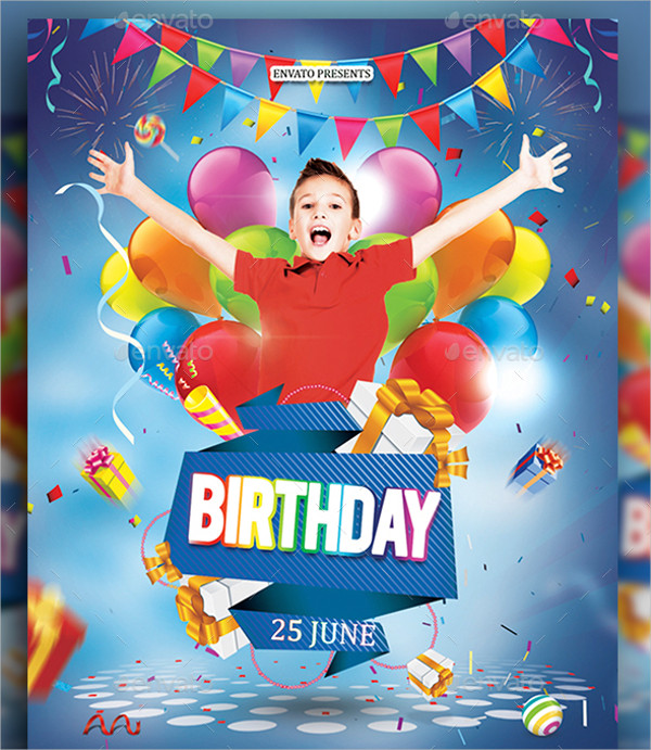 Excellent Kids Birthday Party Flyer Template