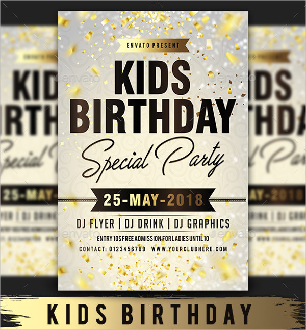 Special Kids Birthday Party Flyer Template