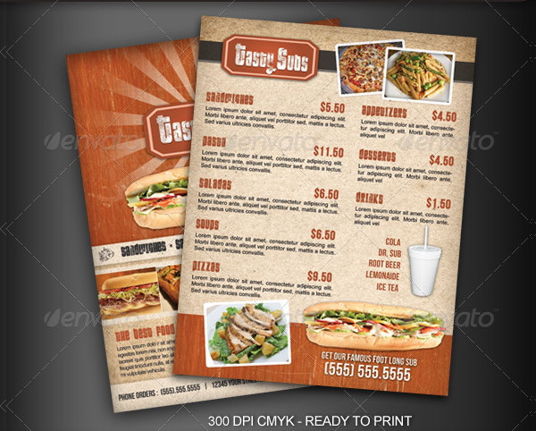 Fast Food Advertising Menu Flyers