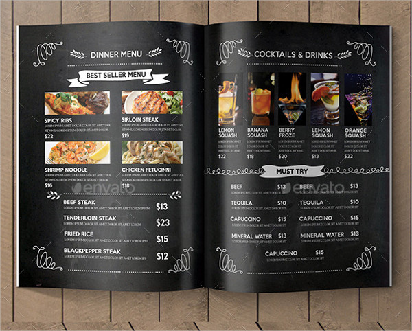 Fast Food Blackboard Menu Template