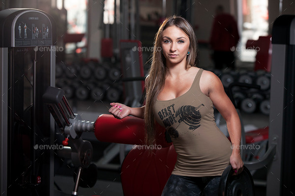 Female Fitness Gym Tank Top T-Shirt Mock-Up