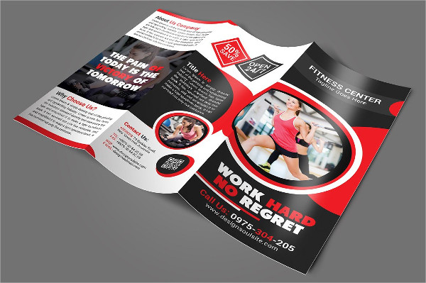 Tri-Fold Fitness Center Brochure Template