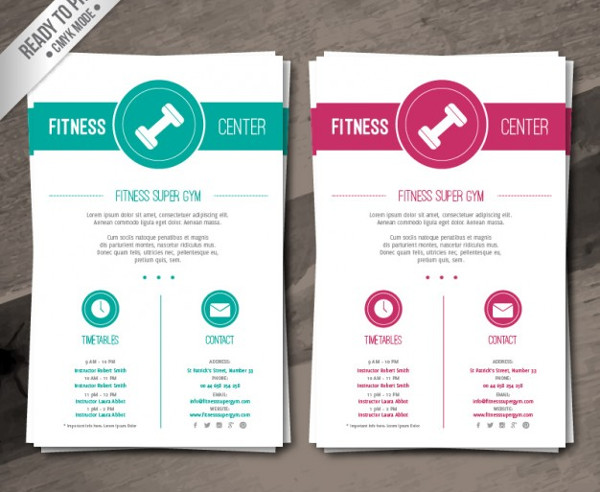 Free Vector Fitness Center Brochure Template