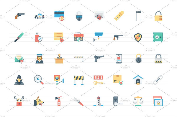 176 Flat Crime & Security Icon Pack