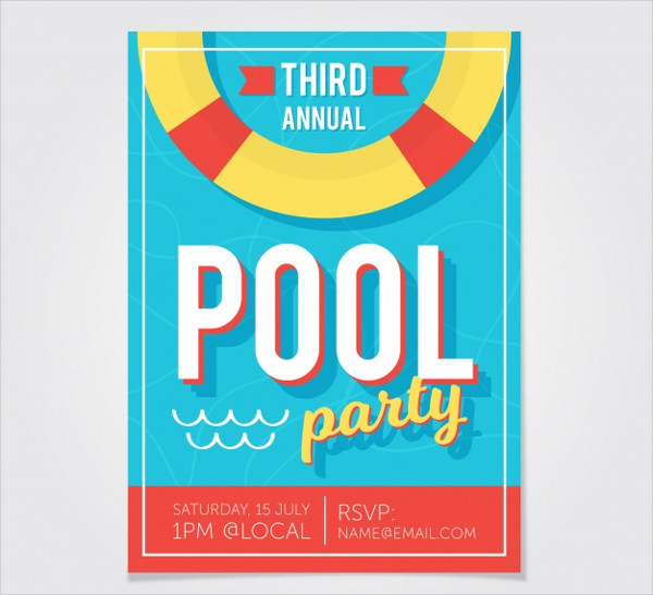 Flat Flyer of Pool Party Free Vector