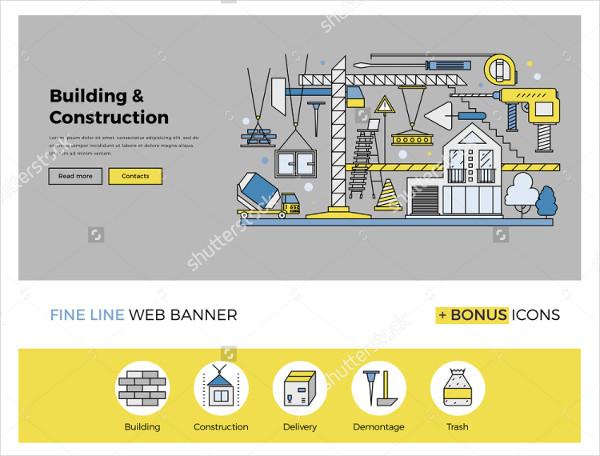 Flat Line Construction Process Banner