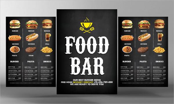 Food Bar Menu PSD Flyer Template