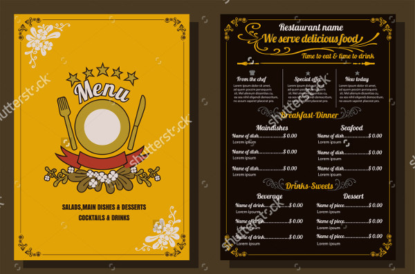 Food Menu Vintage Design Flyer Template