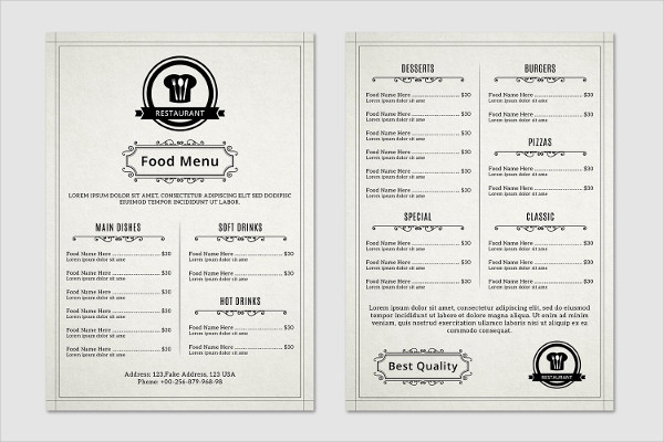 Printable Food & Restaurant Menu Flyer