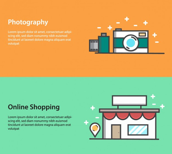 Banners about Photography and Online Shopping Free