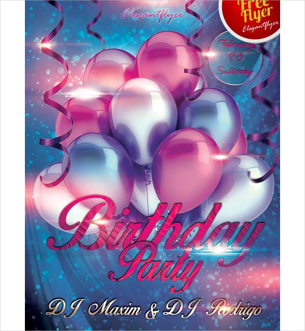 Free Birthday Party Club PSD Flyer Template