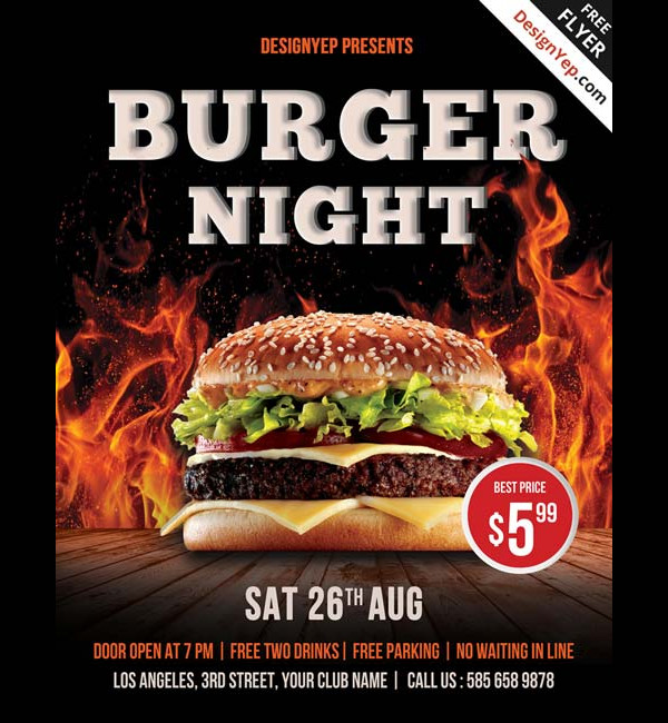 Free Burger Night Flyer Template