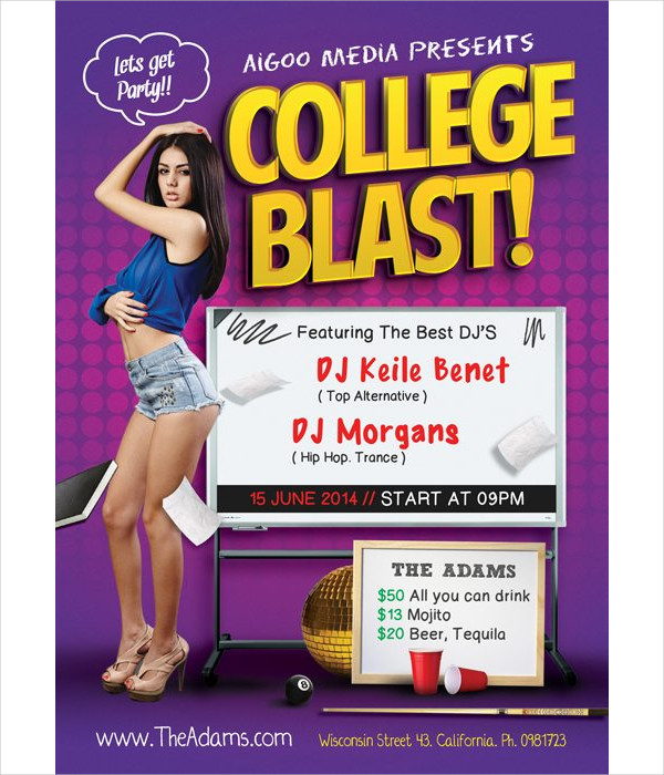 Free College Blast PSD Flyer Template