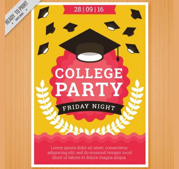 Free College Friday Night Party Flyer Template