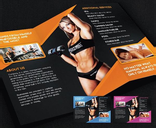 Free Fitness Tri-Fold PSD Brochure Template