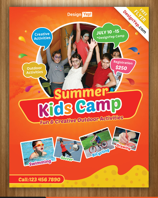 Free Kids Summer Camp Flyer PSD Template