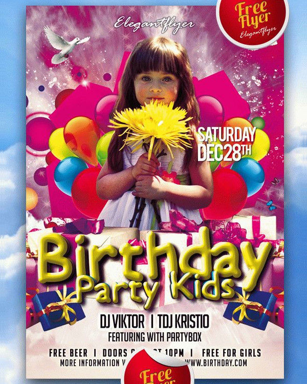 Free PSD Kids Party and Club Flyer Template