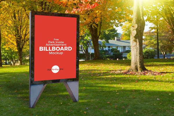 Free Park Inside Advertisement Billboard Mockup PSD