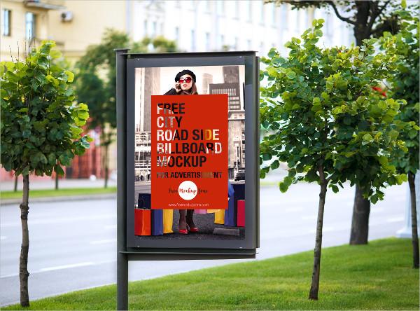 Free City Road Side Billboard Mock-Up