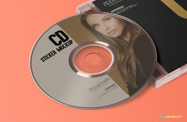 Free Stylish CD Jewel Case & Label Sticker Mockup