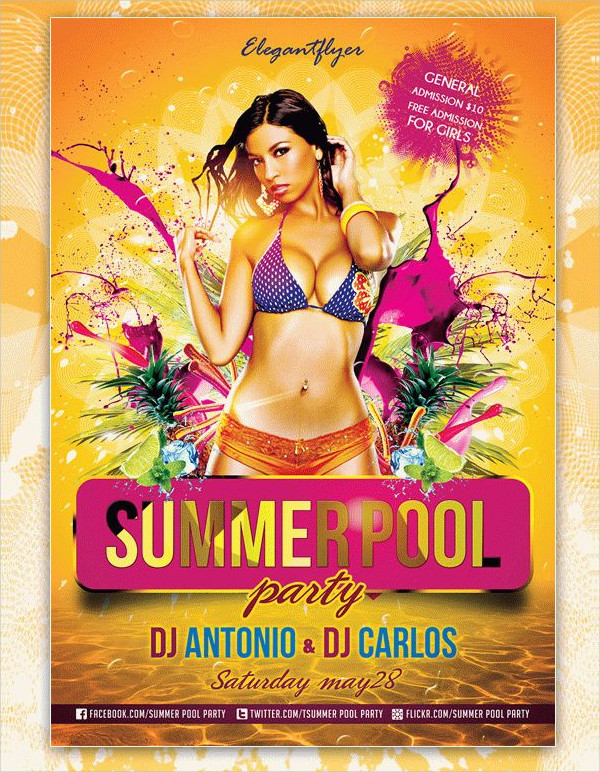 25 pool party flyer templates free premium download