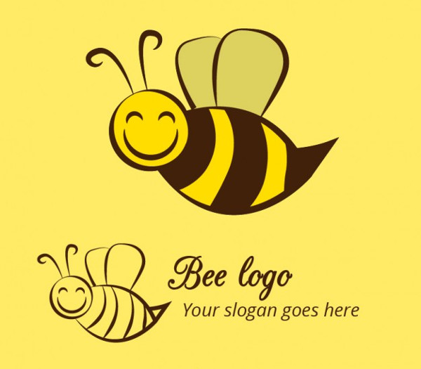 Free Vector Happy Bee Logo Template