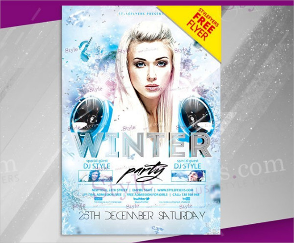 Free Winter Party PSD Flyer Template