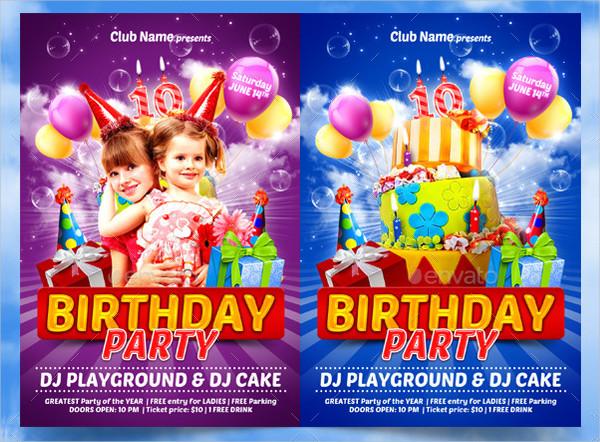 Funny Kids Birthday Party Flyer Template
