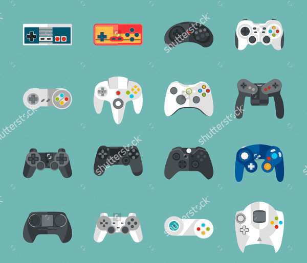 Game Pad Icon Set in Flat Style