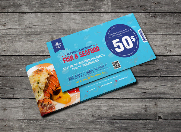 Sea Food Gift Voucher Templates