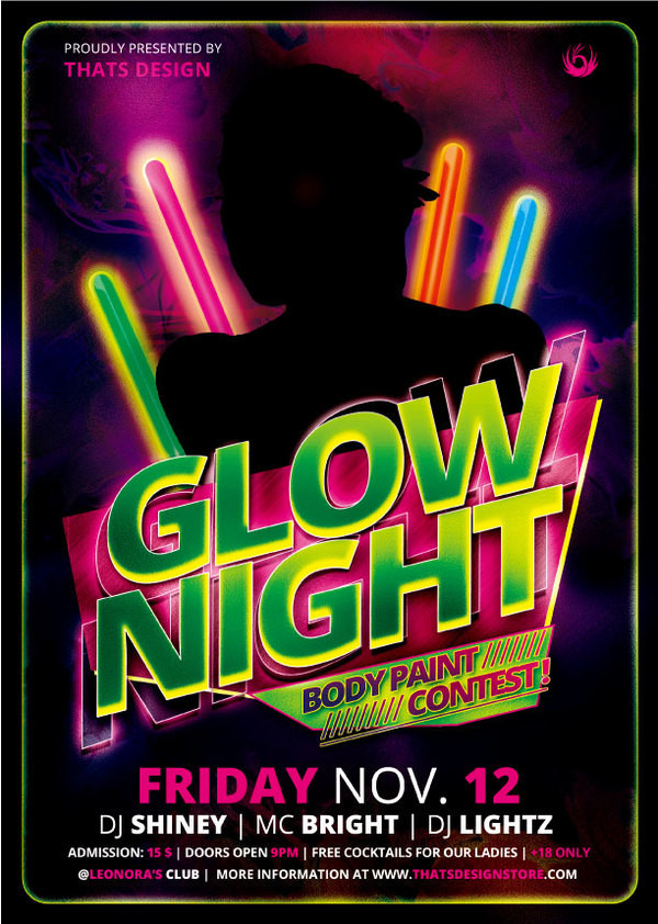 23 glow party flyer templates free premium download