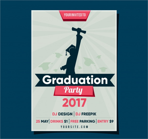 Graduation Party Flyer with Student Free Vector