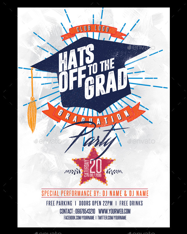 Graduation Party Invitation Flyer Template