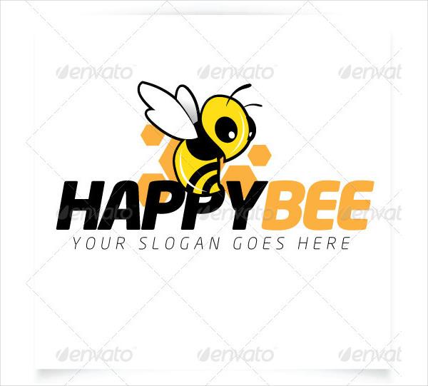 Happy Bee Vector Logo Template