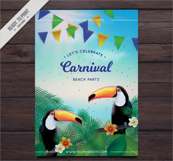 Carnival Beach Party Flyer Template