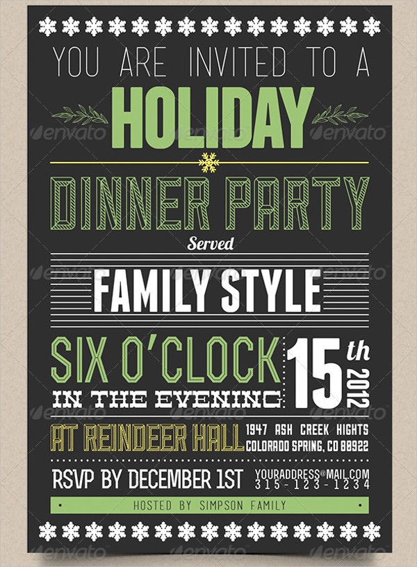 Holiday Dinner Party Invitation Template