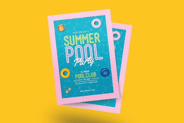 Holiday Pool Party Event Flyer