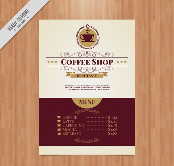Free Elegant Coffee Menu Template in Vintage Style