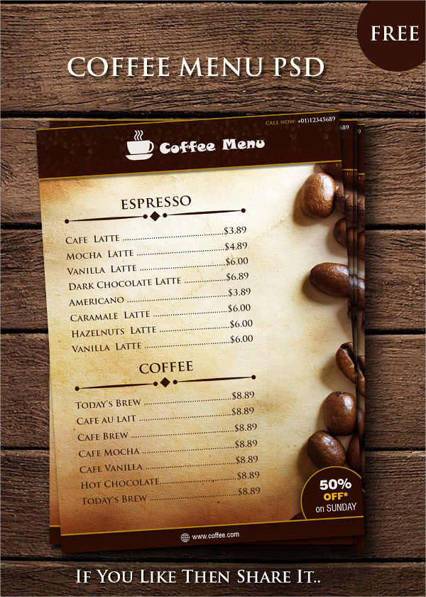 Free PSD Coffee Menu Templates