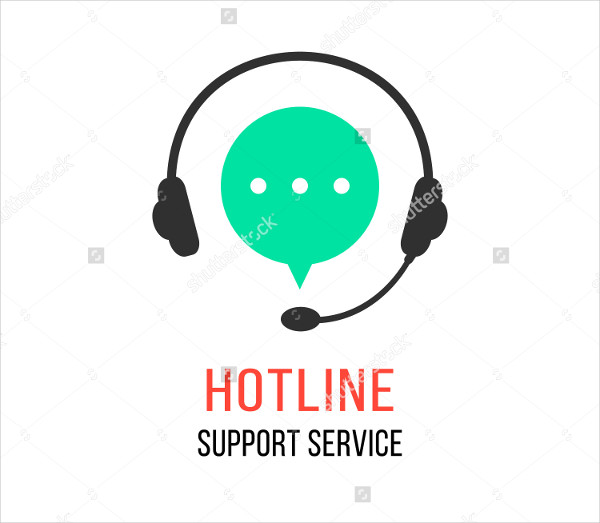 Hotline Support Service Flat Style Logo