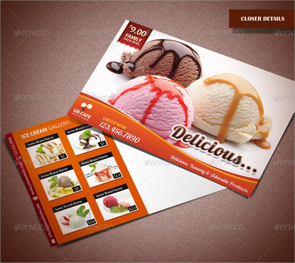 Ice Cream Shop & Bakery Marketing Postcard