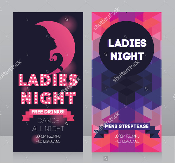 Ladies Night Party Flyer Vector Illustration