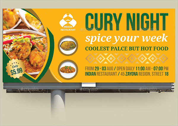 Indian Restaurant Billboard Template