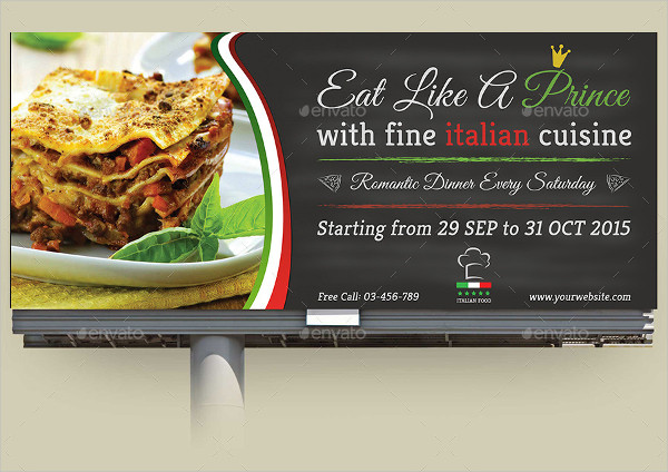 Italian Restaurant Billboard Template