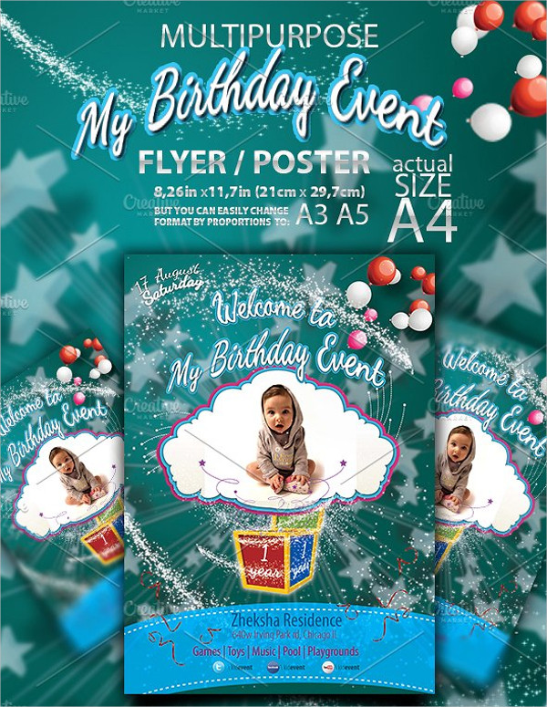 Kid Birthday Party Event Flyer Template
