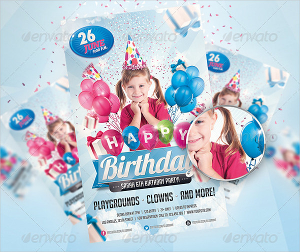 Attractive Kids Birthday Party Flyer Template