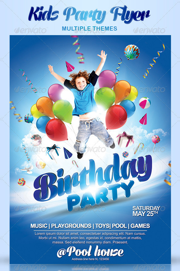 27 kids party flyer templates free premium download