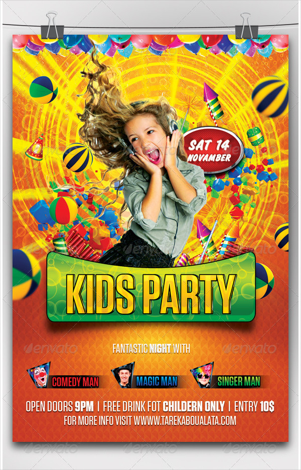 Kids Family Party Flyer Template