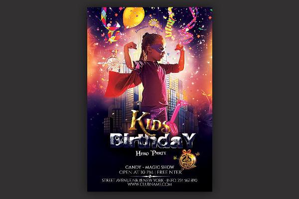 Kids Hero Party Flyer Template